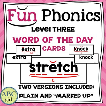 3rd Grade Fundationally FUN PHONICS Level 3 Word of the Day Cards