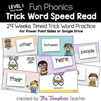 Fun Phonics Trick Word Speed Read for First Grade Freebie