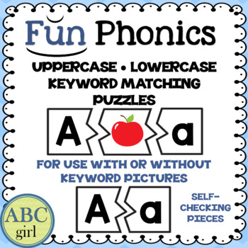 Fundationally FUN PHONICS Uppercase Lowercase Keyword Matching Puzzles