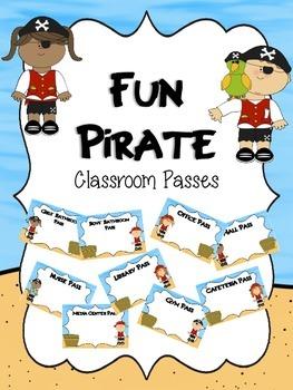 EDITABLE Fun Pirate Classroom Passes