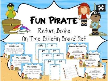 Fun Pirate Return Our Books on Time Bulletin Board Set