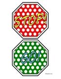 Fun Polka Dots Stop and Go Classroom Bathroom Door Hanger Sign Mini Visuals