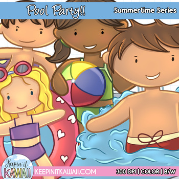 Fun Pool Party Clip Art Set Summer Time Series