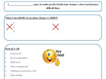 Fun Positive Behaviour Contract