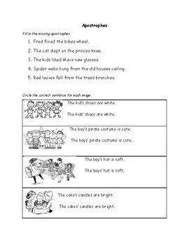 "Fun Possessive Apostrophe Worksheet- After the ""S"" or Before the ""S""?"