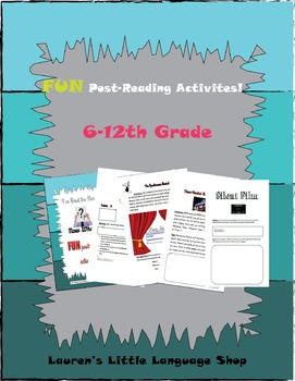 Fun Post Reading Activities Grades 6-12