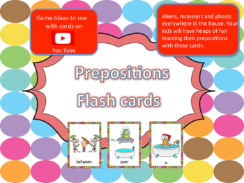 Fun Prepositions flash cards