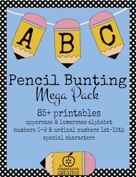 Fun Printable Pencil Bunting Mega Pack-(Alphabet, Numbers, and More)