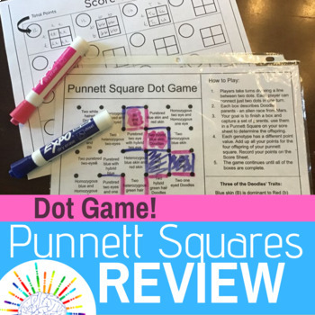 Fun Punnett Square Genetics Practice Review Dot Game! NO PREP! Print and Go!