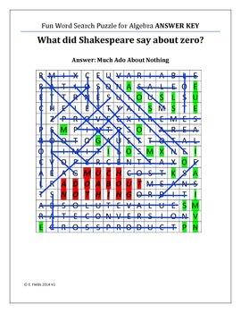 Fun Algebra Puzzles - Algebra Terms