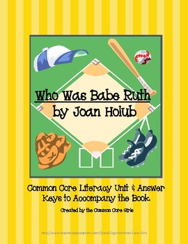 Guided Reading: Who Was Babe Ruth- Common Core, No Prep, Printables