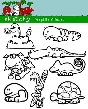 Fun Reptile Graphics / Clipart - 300dpi, Color, Grayscale, Black Lined