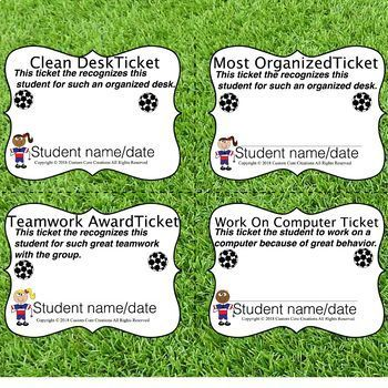 Fun Rewards Tickets Soccer Version (Classroom Management)