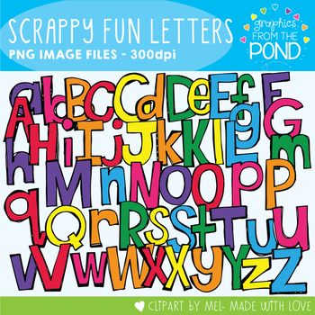 Fun Scrappy Letters Clipart Pack!