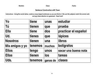 Mix and Match Sentence Construction Activity with Tener