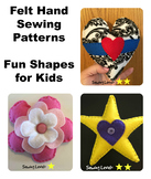 3 Fun Shapes Felt Hand Sewing Patterns Bundle