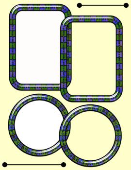 Fun Shiny Frames - Circles & Rectangles - 18 Color Combinations!