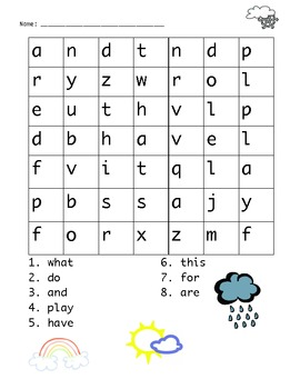 Fun Sight word word search for Kindergarten