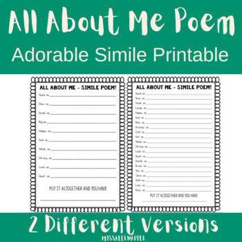 Fun Simile Poem Template - All about me unit!