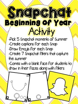 Fun Snapchat Beginning of Year Activity (Snapchat Story and Filters)