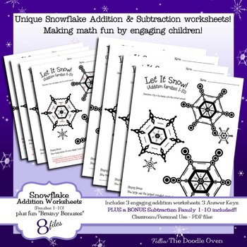 Winter Addition and Subtraction worksheets - Facts 1-10