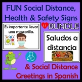 Fun Social Distance Safety Signs and Greetings SPANISH BUNDLE - Plus Videos!