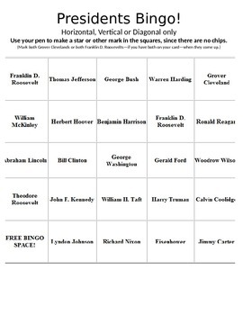 History U.S. - Fun Activity - US Presidents Bingo PowerPoint Game Package
