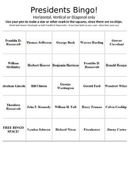 History U.S. - Fun Activity - US Presidents Bingo PowerPoi