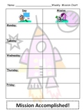 Fun Space Themed Assignment Chart