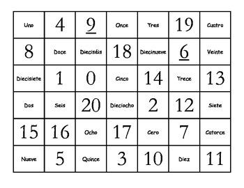 Fun Spanish 0-20 Numbers Memory Game (Números 0-20 Memoria)