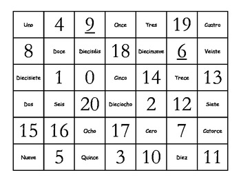 Fun Spanish 0-20 Numbers Memory Game (Números 0-20 Memoria)