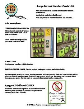 Fun Spanish Apaga el Teléfono Poster * Póster en Español FREE * GRATIS