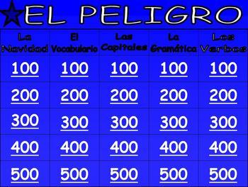 Fun Spanish Jeopardy Game (Vocabulary, Grammar, La Navidad & Culture)