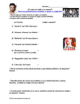 Popular Spanish Songs & Latin Artists Video Activities Unit - Música