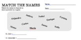 Fun Spanish Names Worksheet