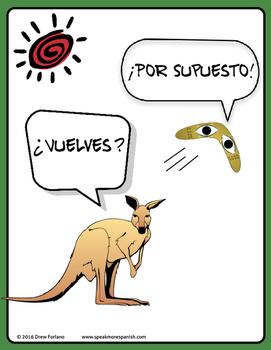 Fun Spanish Vuelves Poster - Demonstrates the O>UE Stem Change - FREE * GRATIS