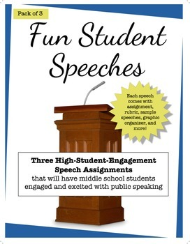 Three engaging middle school speech assignment with rubrics, sample work & more
