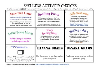 Fun Spelling Activity Choices