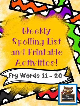 Fun Spelling List Word Work Using Fry Words 11-20!