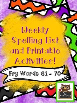 Fun Spelling List Word Work Using Fry Words 61-70!