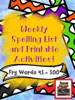 Fun Spelling List Word Work Using Fry Words 91 - 100!