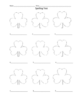 Fun Spelling Test form for St. Patrick's Day