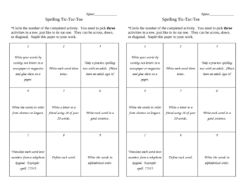 Fun Spelling- Tic Tac Toe Contract for all types of Words