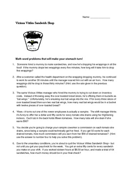 Fun Spooky Math Rate And Unit Rate Word Problems For Halloween Tpt