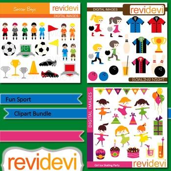 Fun Sport Clip art bundle (3 packs) soccer boys, ice skating girls, bowling
