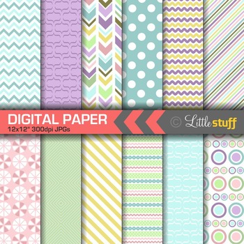 Fun Spring Pattern Digital Papers
