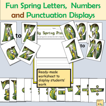 Fun Spring-Themed Alphabet Lettering, Numbers Math Signs and Punctuation Symbols