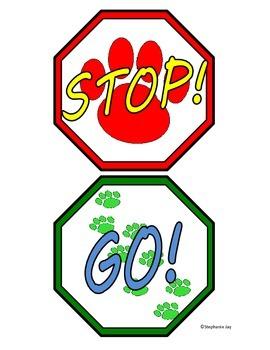 Fun Puppy Dog Prints Stop & Go Classroom Bathroom Door Hanger Sign Mini Visuals