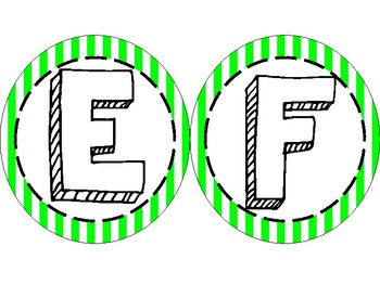 Fun Striped Green Word Wall Letters