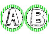 Fun Striped Green Word Wall Letters